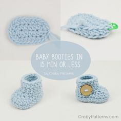 "Crochet pattern: ""Baby booties in 15 minutes or less,"" by Doroteja on CrobyPatterns.com (Mar 2016)."