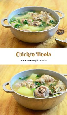 Tinolang Manok (Chicken in Ginger Broth) Tinolang Manok (Chicken Tinola) is a Filipino chicken soup made with chicken pieces papaya spinach and ginger-infused broth filipino-recipes Asian Recipes, Healthy Recipes, Ethnic Recipes, Vegetarian Recipes, Vegetarian Chicken, Healthy Soup, Comida Filipina, Philippine Cuisine, Filipino Dishes