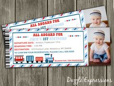 Printable Train Ticket Birthday Photo Invitation | Boy Birthday Party Idea | First or Second Birthday | FREE thank you card | Become a loyal fan on Facebook to receive freebies and see the latest designs! www.facebook.com/DazzleExpressions