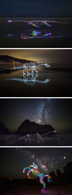 Scribbled Rainbow Light Paintings of Dinosaurs and Other Creatures by Darren Pearson