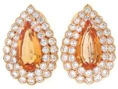 Oscar Heyman Precious Topaz and Diamond Earrings in 18K Yellow Gold, Circa 2000