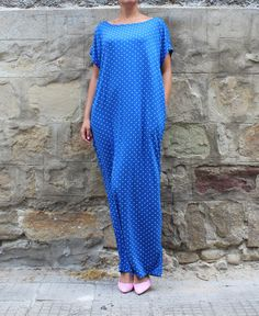 Blue polka dots dress, caftan dress , maxi dress , day dress  , oversized dress , summer dress , casual dress, abaya
