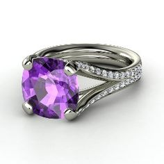 Enrapture Ring, Cushion Amethyst White Gold Ring with Diamond from Gemvara