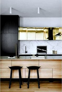 Jaw-dropping gallery of modern kitchen cabinets which will definitely make your neighbors jealous. Check out the best design ideas for Black Kitchens, Home Kitchens, Colorful Kitchens, Kitchen Interior, Kitchen Decor, Kitchen Stools, Kitchen Ideas, Kitchen Designs, Bar Stools
