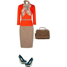 sweaters and pencil skirts   outfit - orange sweater, tan pencil skirt   My Style