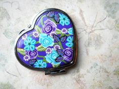 Pocket Mirror Floral Polymer Clay Heart Shaped Double by NKDesigns, $18.00