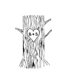Custom Tree Trunk with Lovers Heart and carved initials rubber stamp perfect for wedding. $48.99, via Etsy.