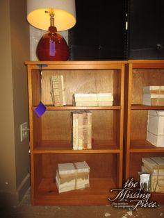"""Small bookcase in a light finish with two shelves. Perfect piece for a bedroom or guestroom. Measures 24""""wide x 10""""deep x 36""""high. At posting, we have two of these. They don't come in this size often here! Arrived: Tuesday November 15th, 2016"""
