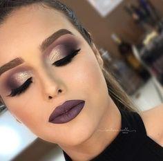 Maquiagem de festa batom escuro #maquiagem #makeup