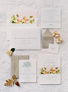 Floral inspired wedding invitation | SIERRA AND CHASE WEDDING – SUNSTONE WINERY | Jose Villa