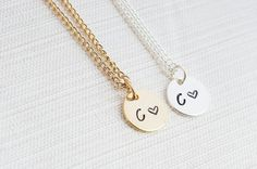 Initial and Heart Necklace, Disc Necklace, Hand Stamped on Disc, Personalised Jewellery, 22Ct Gold Plated Necklace, Silver Plated Necklace