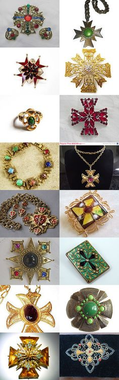 Magnificent Maltese #voguet #VintageVogueTreasure #vintage. Magnificent Maltese cross collection, courtesy of the Vintage Vogue Team and shop of the day, VintageVogueTreasure -- congratulations, Mary Ellen!  For more fantastic finds, use the search term: vogueteam Curator: Anna Ragland from https://www.etsy.com/shop/baublology