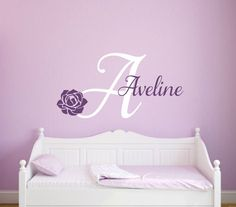 Rose Wall Decal Flower Wall Decal Girls Name Decal Baby Girl Wall Decal Personalized Decal Girl Nursery Decal Girl Bedroom Name Vinyl Decal by RunWildVinylDesigns on Etsy