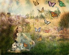 Fairy Photography, Photoshop Photography, Exposure Photography, Fashion Photography, Rainbow Butterfly, Butterfly Art, Butterflies, Flying Flowers, Surrealism Painting