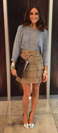 sweatshirt + skirt + shoes...love