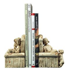 Boy Girl Dog Chair Distressed Stone Bookends -- I just love these.