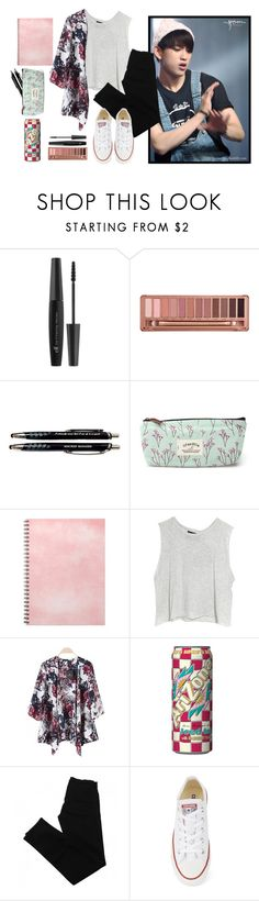 """""""casual school lunch date with jinyoung"""" by loubean98 ❤ liked on Polyvore featuring Urban Decay, MINKPINK, J Brand, Converse, kpop and GOT7"""