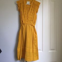 Anthropologie golden dress Odille for Anthropologie golden yellow dress. Pockets on sides. Waist tie. Worn once. Excellent condition Anthropologie Dresses