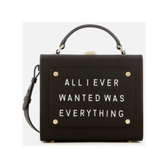 meli melo Women's Art Bag with Text - Black (2,430 ILS) ❤ liked on Polyvore featuring bags and handbags