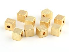 Textured Cube Beads 22K Gold Plated 10 pieces by ShiShisBoutique