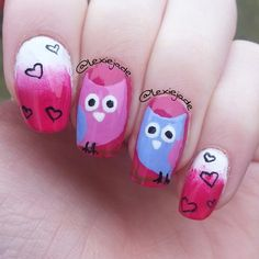 cute patterned nails for you to try Owl Nail Designs, Fingernail Designs, Owl Nail Art, Owl Nails, Beauty Nails, Hair Beauty, Nail Time, Chi Omega, Creative Nails