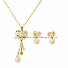 juego de collar y aretes de corazon con cristal y perla en acero inoxidable para mujer-SSNEG252120