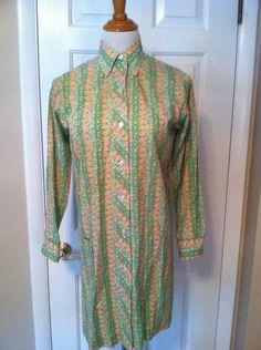 Mod Floral Shirt Dress Vintage 1960's 70's
