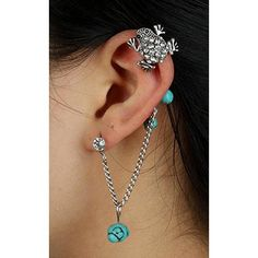 Ear Cuff Chain Unique Retro Copper Alloy Rhinestones Turquoise Earrings