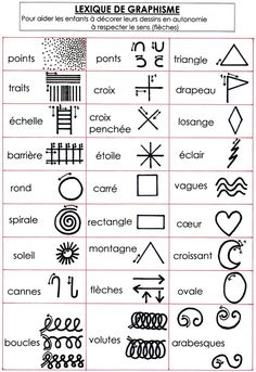 To draw the graphic signs in the right direction (arrowheads for respect . - classe : maternelles graphisme, motricité fine - Welcome Home Maternelle Grande Section, Pediatric Occupational Therapy, French Classroom, Futuristic Technology, Doodle Patterns, Elements Of Art, Drawing For Kids, Art Activities, Teaching Art