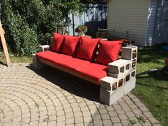 63 Cinder Block Furniture Backyard Backyard lighting is important, particularly if you are in possession of a little firepit or a gazebo in which you […] Cinder Block Furniture, Cinder Block Bench, Cinder Block Garden, Cinder Blocks, Patio Bench, Diy Patio, Backyard Patio, Backyard Landscaping, Benches