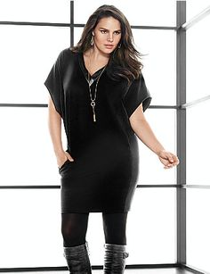 I love sweater dresses all a long necklace and some boots this will carry you from the office to happy hour. #plussize