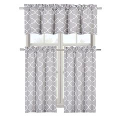 Maison Shabby Gray Trellis Cotton Blend Kitchen Curtain Tier and Valance Set - Assorted Colors (Gray) * Be sure to check out this awesome product. (This is an affiliate link and I receive a commission for the sales)