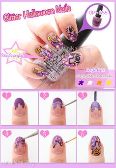 Glitter Halloween Nail Art Tutorial!! Please visit my blog for the details :D https://nailbees.com/glitter-nails