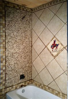 Western, Wildlife, tile ideas, Kitchen backsplash, Bathroom Shower, Bathroon Surround, Shower Surround, Western, Cowboy, Wildlife, Brands, Horses, Texas, Longhorn, Native American, Fly Fishing.