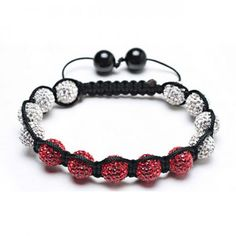White and Red Crystal Beads Shamballa Inspired Bracelet Macrame Bracelets, Jewelry Bracelets, Bling Jewelry, Jewelry Gifts, Diamond Earrings For Women, Crystal Beads, Crystals, Valentine Day Gifts, Holiday Gifts