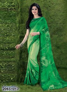 Glitzy Green Coloured Georgette Printed Saree