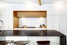 Modern kitchen with black leathered granite countertops gloss white cabinets Modern Kitchen Design, Kitchen Designs, Leather Granite, White Cabinets, Granite Countertops, Furniture, Black, Home Decor, White Dressers