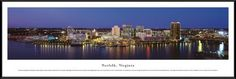 Norfolk, Virginia - Blakeway Panoramas Print with Standard Frame, Brown