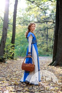 "Medieval Flax Linen Dress and Surcoat Costume Set ""Sunshine Janet"". $186.00, via Etsy."