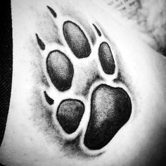Cool Shaded Dog Paw Print Male Tattoos