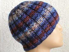 e4e3e90ea64 Blue brown striped beanie hat mens womens winter hat striped hat ribbed beanie  hat mens womens knit hat chemo cap blue brown hat hiking hat