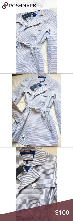today onlyStriped Tommy Hilfiger Trench Coat Brand new with tags! Tommy Hilfiger Jackets & Coats Trench Coats