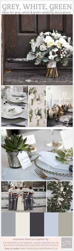Grey White Green Wedding Inspiration Board - Shared Hosting - When looking at color schemes for winter weddings one of our favorites is grey white and green. The muted tones of the grey and green look lovely on a crisp winters day they feel warm and cosy Wedding Centerpieces, Wedding Table, Wedding Bouquets, Wedding Decorations, Wedding Day, Trendy Wedding, Winter Decorations, Wedding Favors, White Bouquets