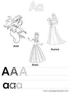 letteraa tracing disney princesses - Disney Princess Activities