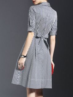 Bow Stripes Shirt Dress