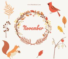 CLIP ART - November - for commercial and personal use