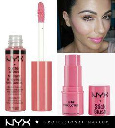 "Pink inspiration! Δώστε στο πρόσωπο σας ένα φρέσκο νεανικό look χρησιμοποιώντας στα μάγουλά σας το Stick Blush στην απόχρωση ""Pink Lotus"" (SB02) και στα χείλη το Butter Gloss στην απόχρωση ""Peaches and Cream"" (BLG03)."
