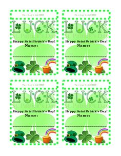 Saint Patrick's Day Name Tags. Pin or Tape to Shirt or Hang on Bulletin Board. Fun Activity Literacy Printable. 4 name tags to 1 page. 2 options. Great for Fun-Stuff Activity, Life Skills, Saint Patrick's Day Holiday, Fine Motor Skills of Cutting Out Name-tags.