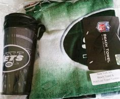 New York Jets 30 x 60 Beach towel & hot/cold travel tumbler $25
