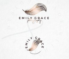 Premade Logo, Feather Logo, Photography Logo, Copper, Elegant Logo by MadeWithLoveByNaja on Etsy